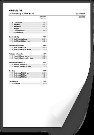 Produktionsliste ausdrucken mit Bäckereisoftware FakturaAssist