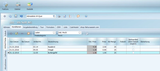 Lieferschein und Rechnung individuell für jeden Kunden eingeben mit Bäckereisoftware FakturaAssist