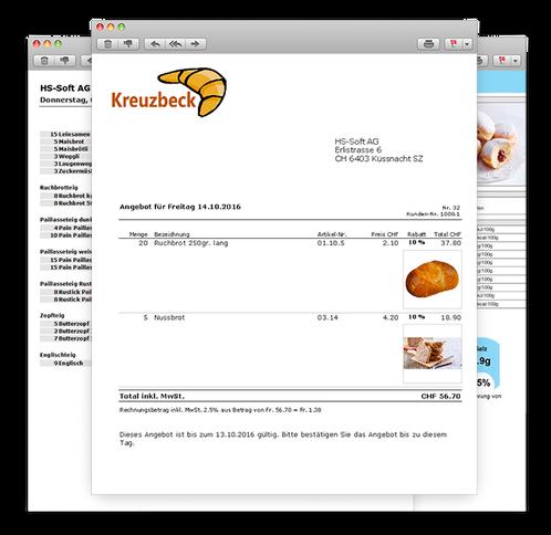 Angebot Offerte Lieferschein und Rechnung in einer Bäckereisoftware