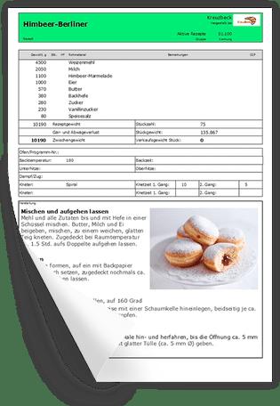 Rezeptblatt drucken mit Bäckerei Software RezeptAssist