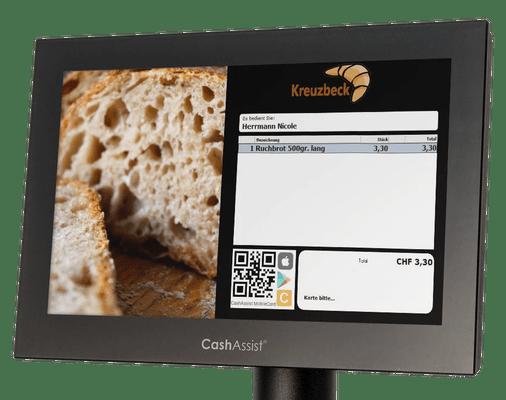 Kundendisplay ein QR-Code angezeigt für Bargeldlos bezahlen mit dem Smartphone