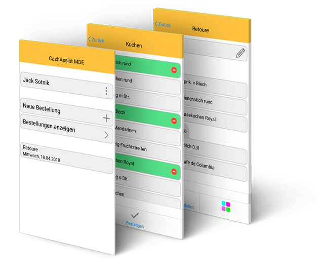 CashAssist MDE Filialbestellsystem App Screens