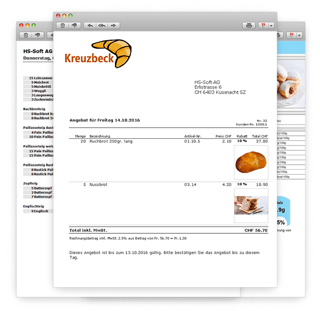 Bäckerei Software für Warenwirtschaft