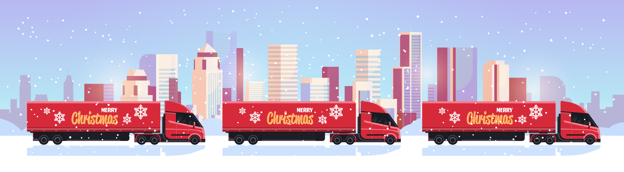 Christmas trucks vector