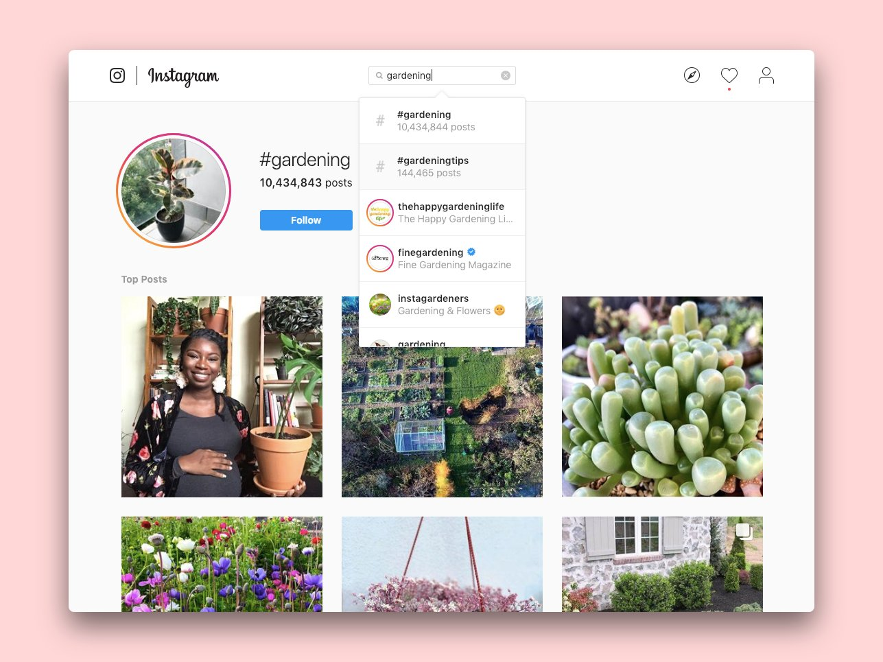 The #gardening search page on Instagram