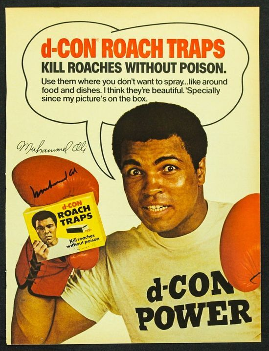 Muhammad Ali endorsing Roach traps on a poster
