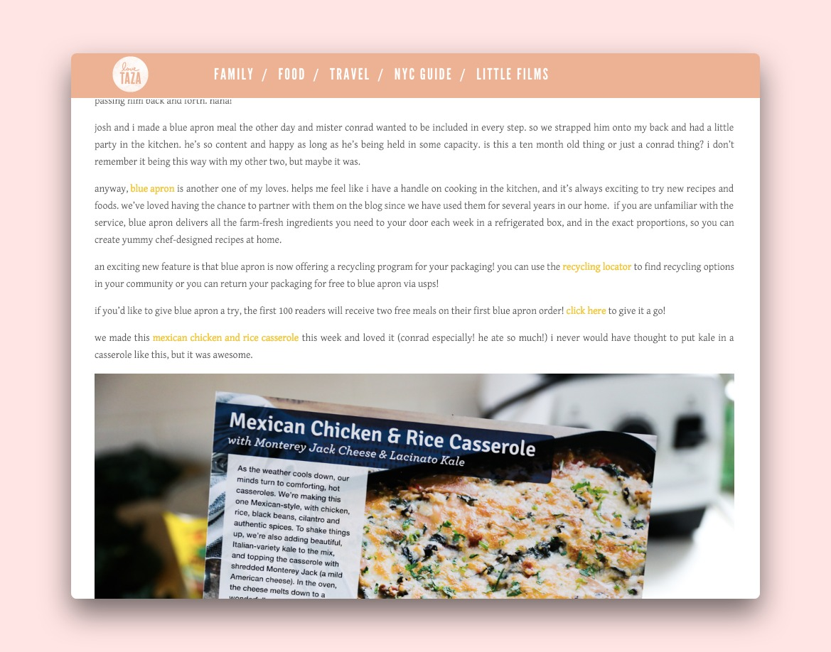A post by food blog Love Taza promoting Blue Apron