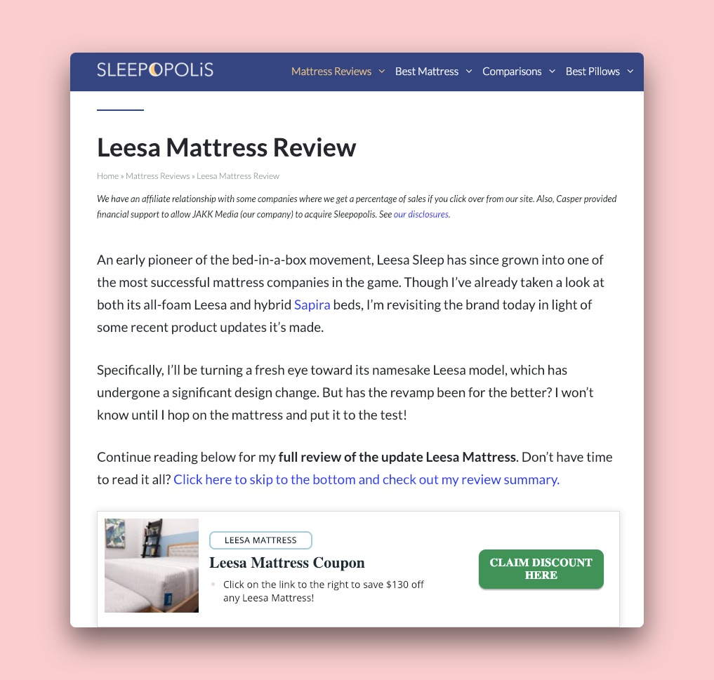 The Sleepopolis blog featuring a review for Leesa Mattress