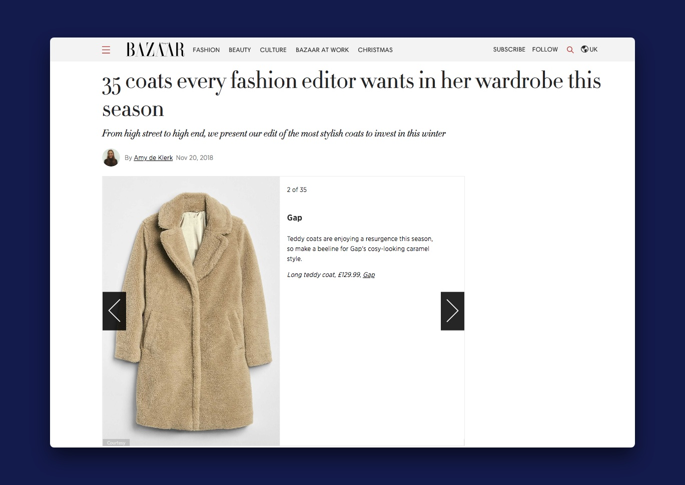 A photo blog post by Harper's Bazaar labelled 35 coats every fashion editor wants in her wardrobe this season