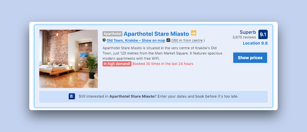 A booking.com listing for Aparthotel Stare Miastro with a number of urgency indicators