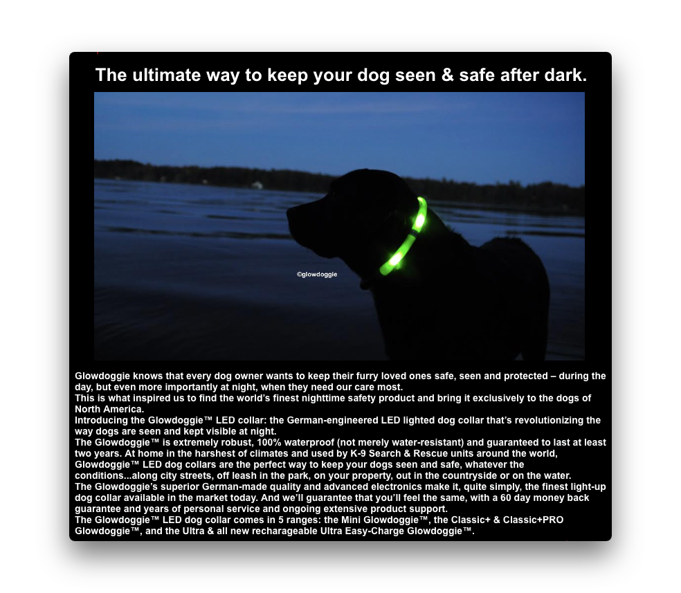 Product Description for Glowdoggie LED collar