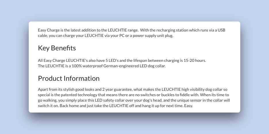 Product Description for the LEUCHTIE LED dog collar
