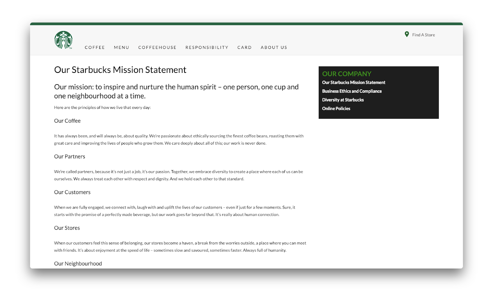 The Mission Statement Page of the Starbucks website