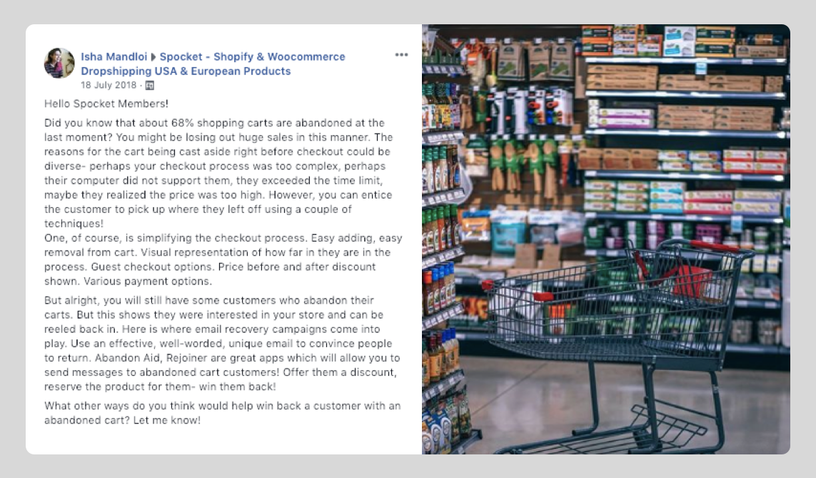 Post by Spocket admin in Spocket's dropshipping Facebook group