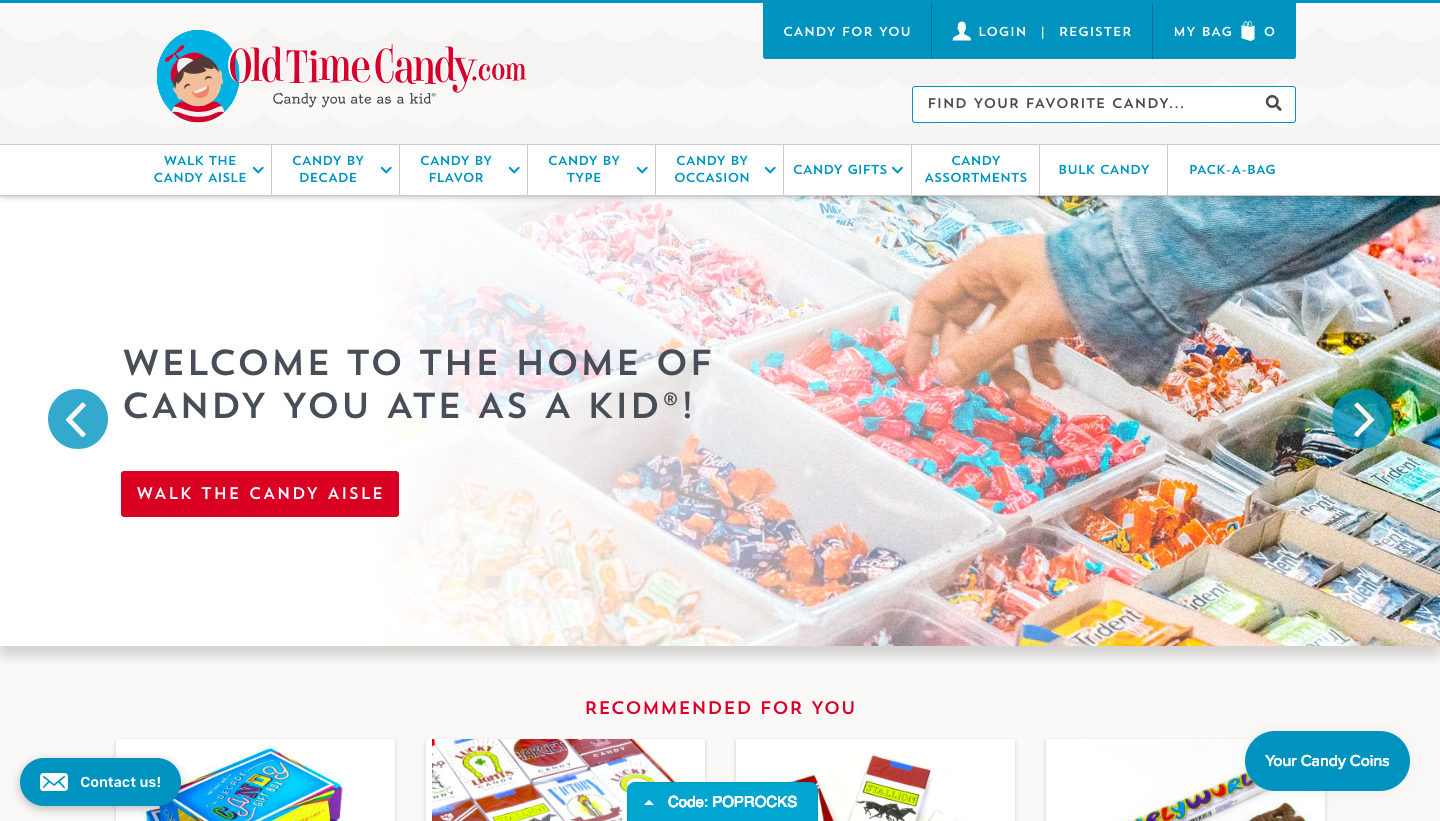 Old Time Candy.com's home page, a company that sells products for a custom audiences