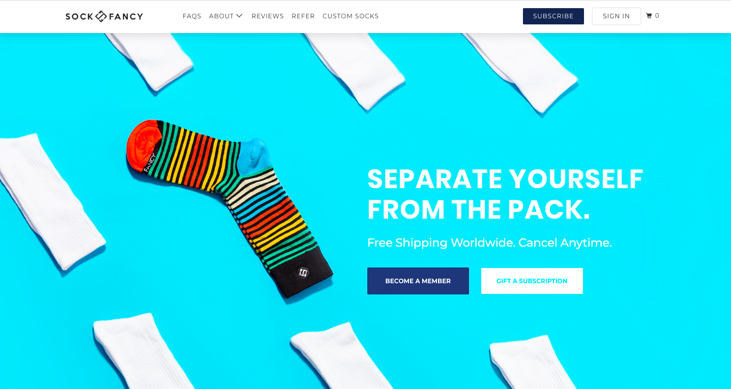 Homepage for SockFancy, the sock subscription company