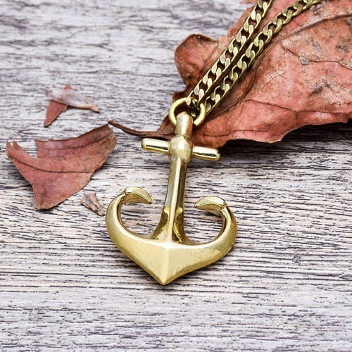 Brass Anchor Necklace, spocket