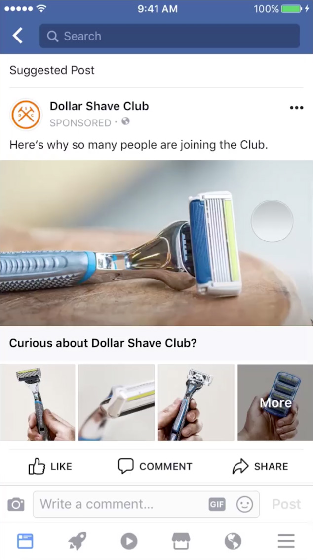 Facebook mobile ad for Dollar Shave Club