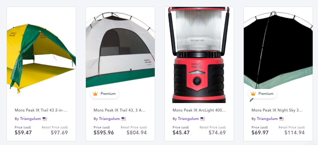 Camping equipment products for dropshipping on Spocket