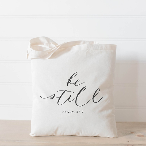 'Be Still' Bible Verse Tote Bag