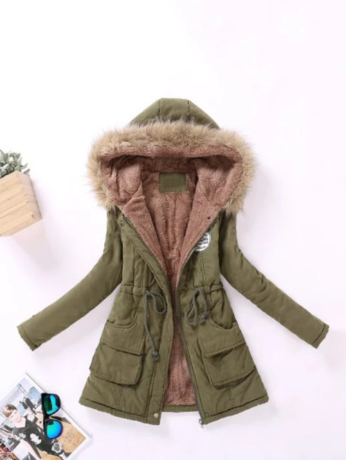 Faux-Fur Lined Parka Coat