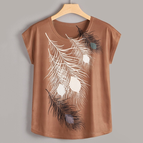 Plus-Sized Feather-Print Tee