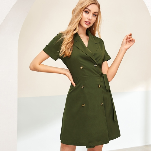 Double Breasted Self Tie Wrap Dress