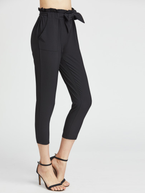 Black Ruffle Waist Self Tie Capri Pants