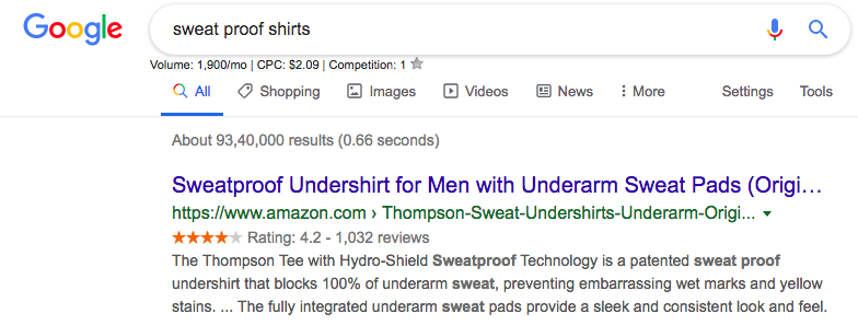 Google Search Sweat proof shirts