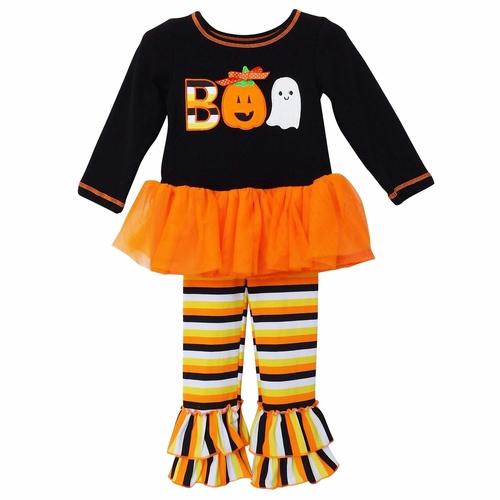 Boo Halloween Tunic & Striped Pants