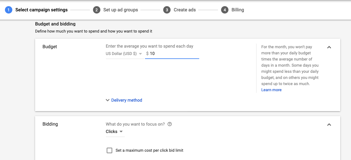 google ads campaign settings