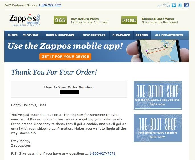 Zappos' thank you message to customers post-order