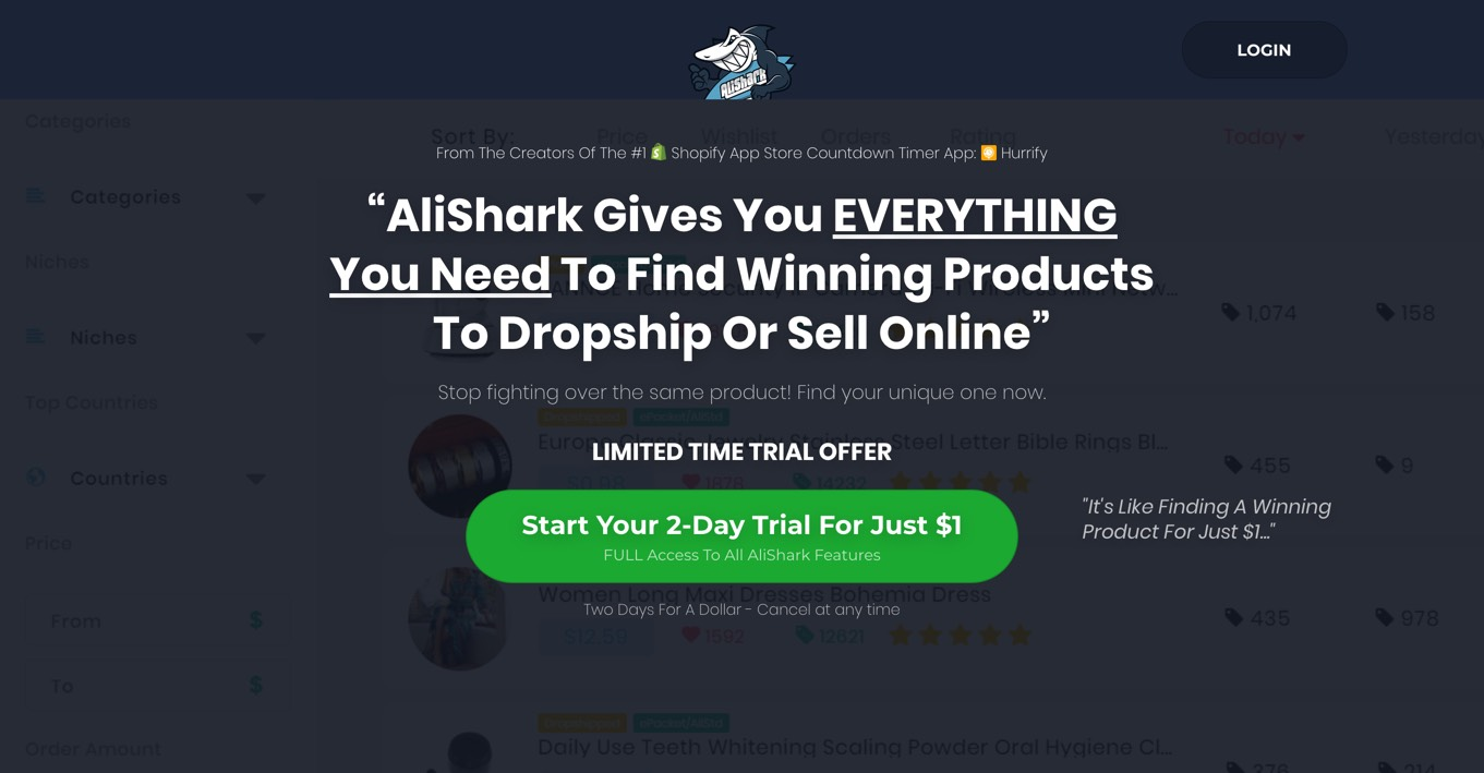 Alishark Niche scraper software for finding trending products to sell