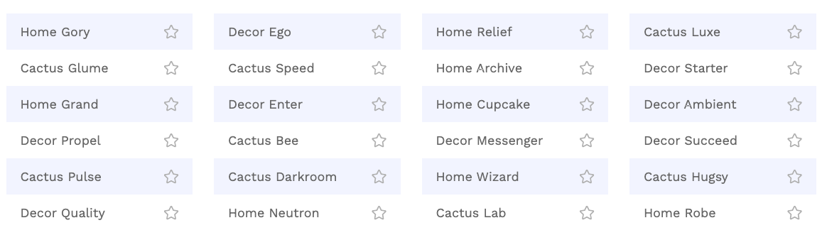 Business name generator example listing