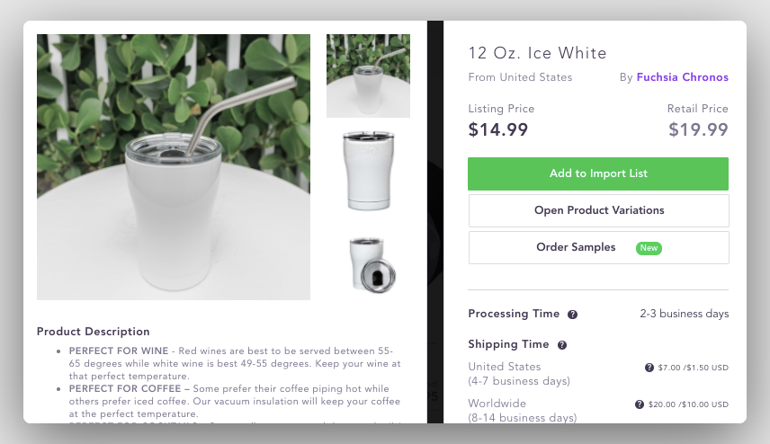 Example of low ticket dropshipping, white tumbler