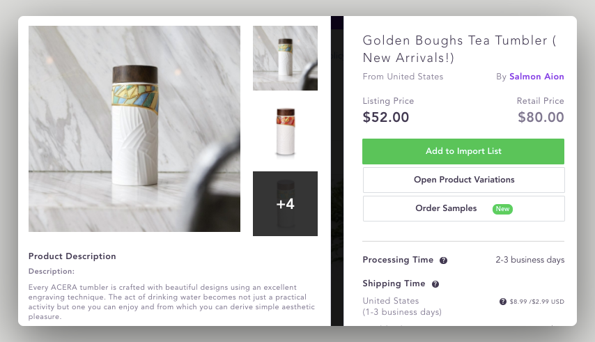 High Ticket Dropshipping example, expensive tumbler