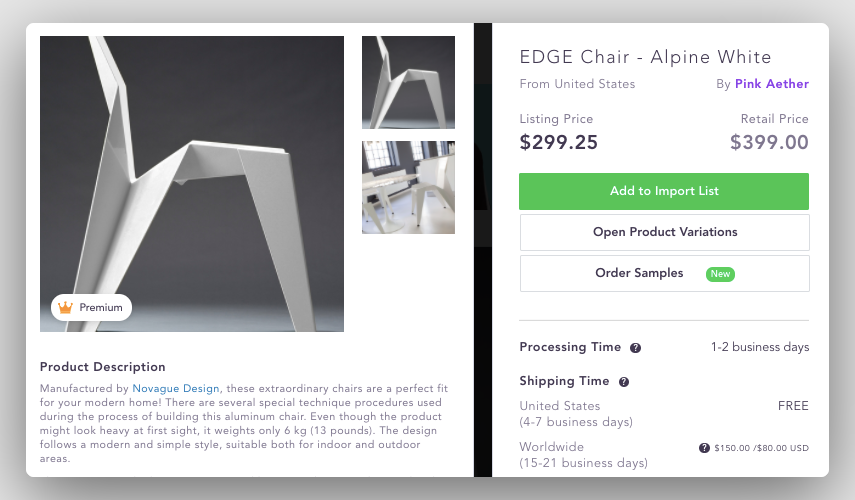 Dropshipping suppliers USA for high ticket dropshipping furniture