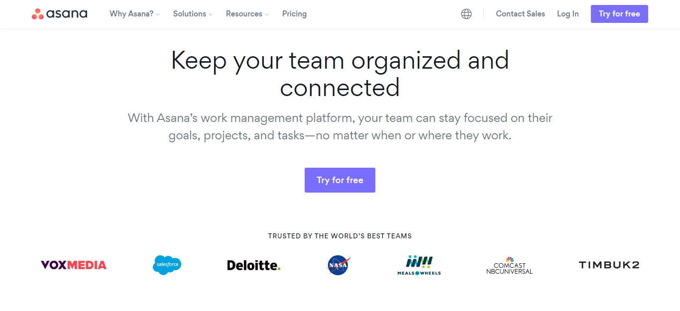 Asana Free project Management Tools for working remotely