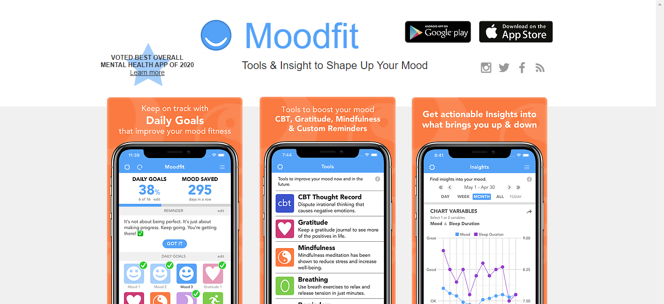 Moodfit Best Apps for Mental Health in 2020 for working remotely