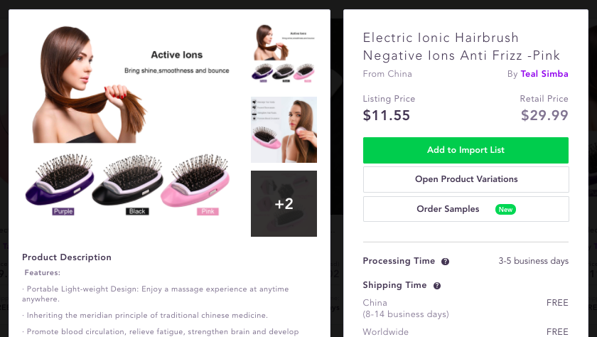 Ionic Hairbrush Best dropshipping products to sell 2020