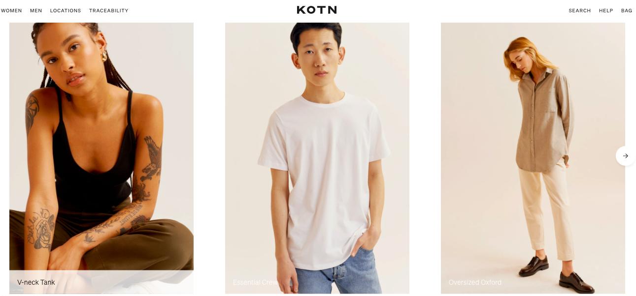 eCommerce minimalist website example