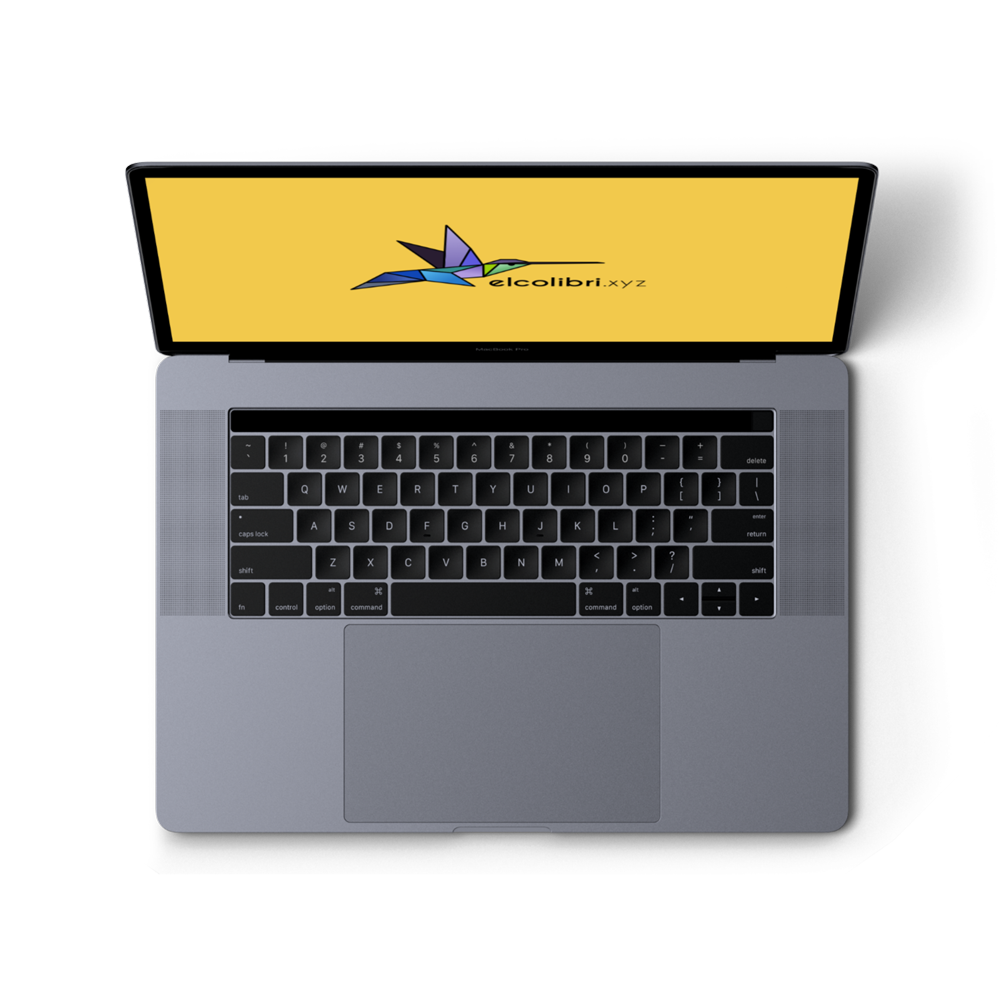 A Macbook computer with El Colibri Studio Logo