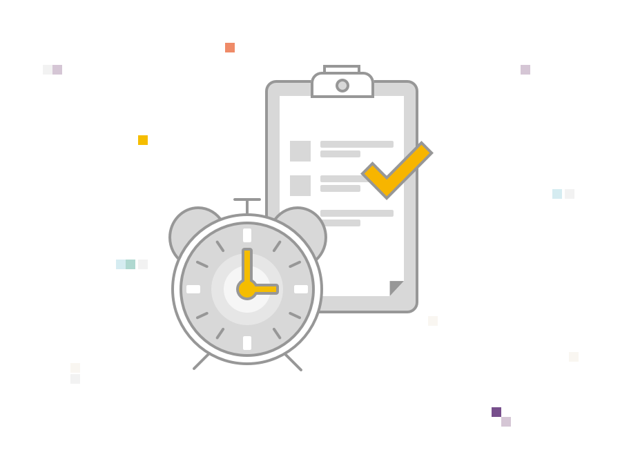 Illustration of a clock with a clipboard, indicating time saved