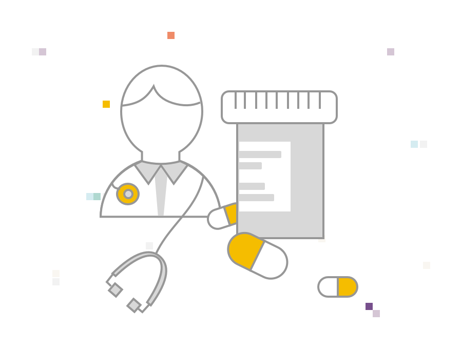 Illustration of a doctor with a prescription