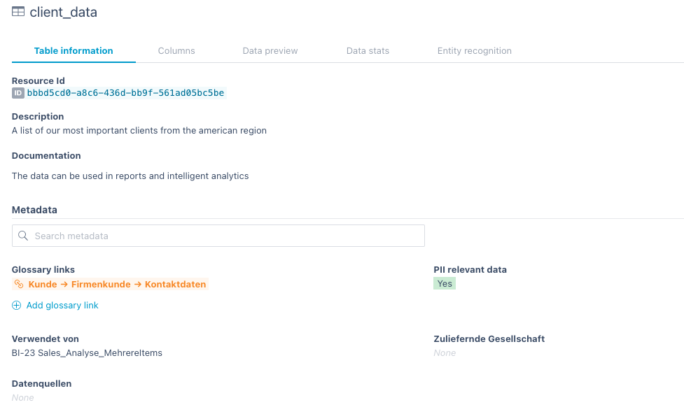 data source structure information metadata