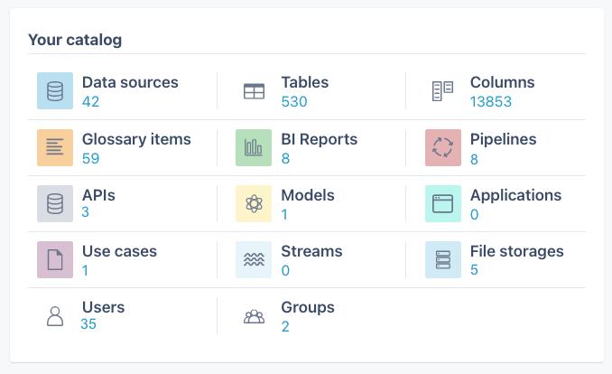Contiamo data catalog data assets overview