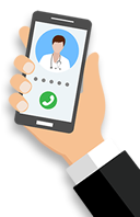 Cartoon hand holding a phone with a doctor on the screen for telehealth