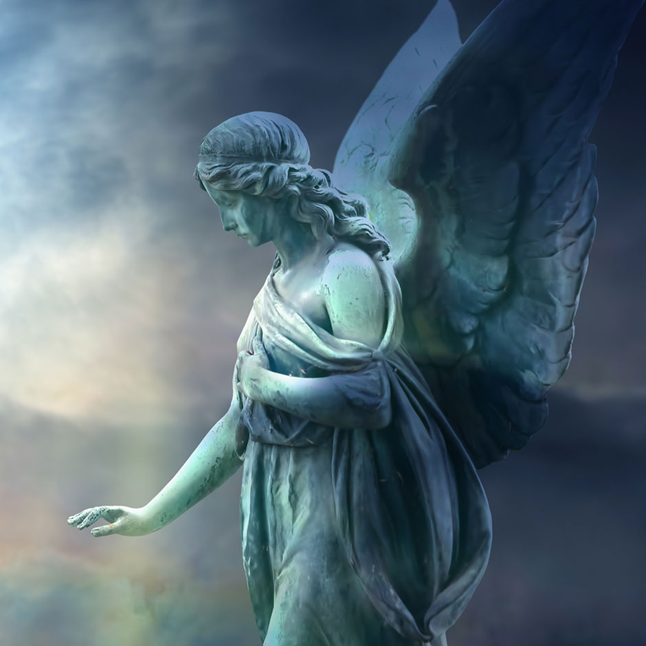 Angel statue with hand outstretched below