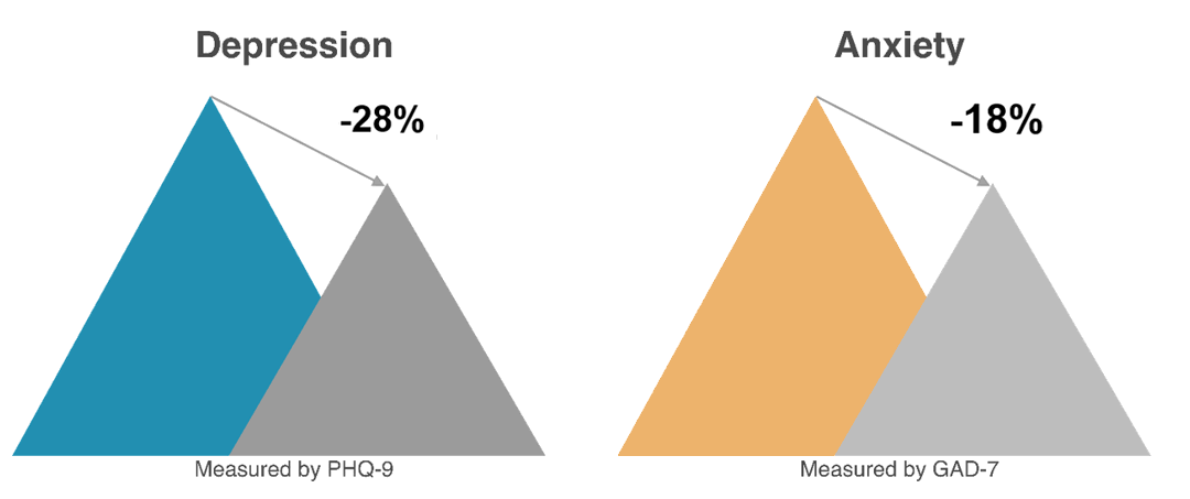 Chart demonstrates 28% decrease in depression, and 18% decrease in anxiety, measured by PHQ-9, and GAD-7, respectively