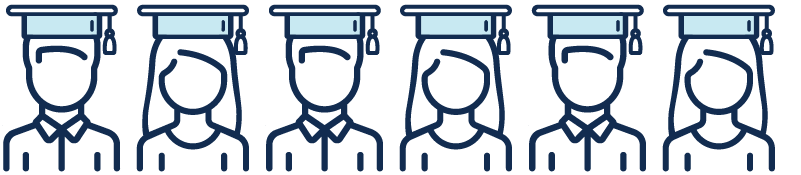 Illustration of graduates with hats